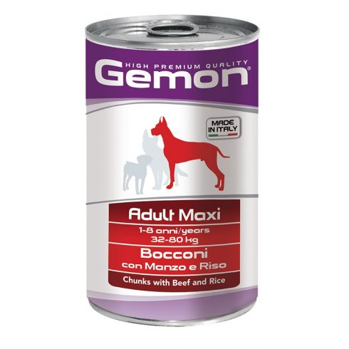 Gemon Dog Adult Chunks with beef and rice MAXI - glutén mentes marha -rizs konzerv 1245 gr.