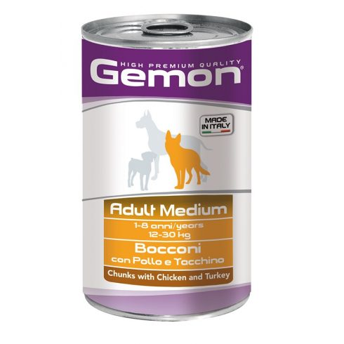 Gemon Dog Adult Chunks with chicken - glutén mentes csirke-pulyka -rizs konzerv 1245 gr.